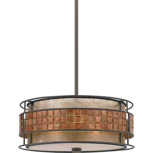 Torbrook Ceiling Pendant Chandelier Light with Tile Shade, Brown Hanging 3-Light 180 Watts, Copper (Tile Light 3 Pendant)