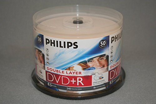 PHILIPS DVD+R 8.5G INKJET DUAL, LAYER,CAKE BOX, 50PKS, 600/CRN A2 by Philips (Image #2)