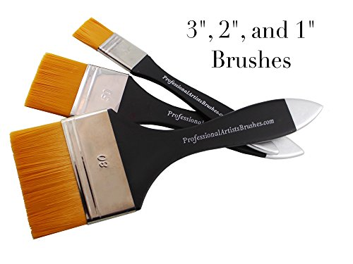 Flat Brush Varnish (Flat Wash Brush Set for Acrylics, Watercolor and Oils. Paint Large Areas Quickly and Smoothly With Liquid Paint. Upgrade of Design and Quality in 2016. Will Not Shed Bristles)