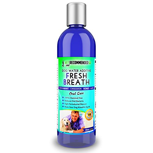 Vet Recommended Dog Breath Freshener Water Additive for Pet Dental Care - All Natural - Works to Solve The Cause of Bad Dog Breath. Add to Pet's Drinking Water - Made in USA (16oz/473ml)