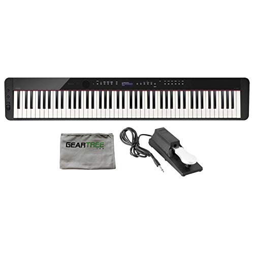 Casio PX-S3000BK 88 Weighted Key Digital Piano w/Cleaning Cloth and Sustain Ped