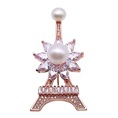 Nice JYX Exquisite Tower-shaped 6.5-9.5mm Freshwater Pearl Brooch Pin