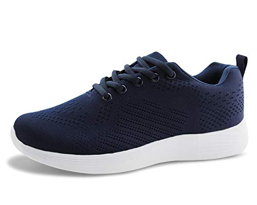 Jabasic Women Lightweight Knit Shoes Casual Athletic Sports Sneakers (Navy,5)