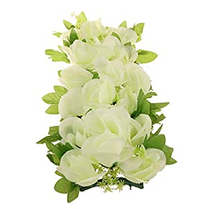 Fityle Simulation Silk Rose Flower Wall Panel Home Funeral Cemetery Memorial Flower Wreath Garland 36