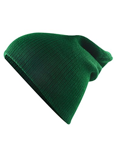 - American Trends Unisex Kids Trendy Beanie Slouch Cotton Cap Winter Warm Soft Knit Hat for Boys Girls Forest Green