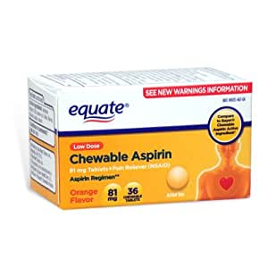 Amazon com: Equate Aspirin 81 Mg, Adult Low Dose, Orange