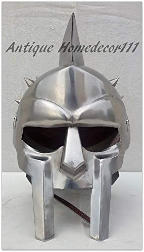 HANDMADE VINTAGE ART Wearable Gladiator Helmet Silver Finish Medieval Leonidas Horror Role Play Costume for Halloween ()