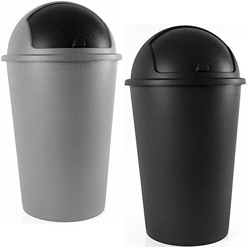 Abfalleimer 50L Push Can - mit Schiebedeckel - 68cm x 40cm grau