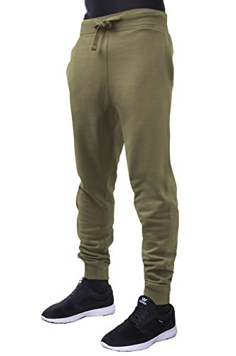 Hat and Beyond Mens Fleece Jogger Pants Elastic Active Basic Urban Harem Slim Fit (Large, Military Green) by Hat and Beyond (Image #1)