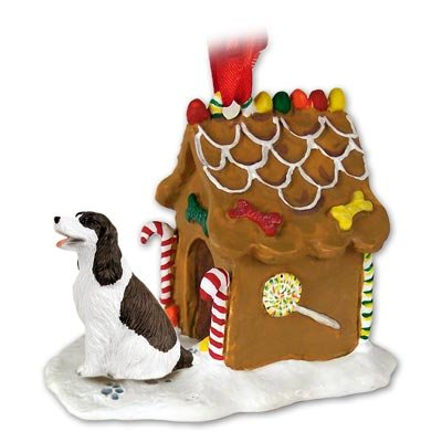 SPRINGER SPANIEL Dog Liver NEW Resin GINGERBREAD HOUSE Christmas Ornament 22A