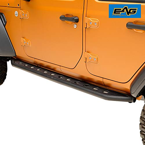 EAG Off-Road Tubular Round Hole Rock Sliders Fit for 18-19 Jeep Wrangler JL 4 Door Rock ()