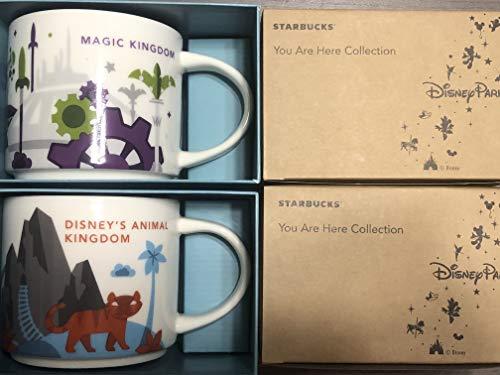 - 2 Mug Set: Disney Magic Kingdom+ Animal Kingdom You Are Here YAH 14 Oz. Starbucks Mugs
