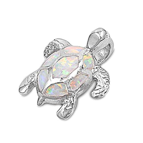 Oxford Diamond Co White Fire Opal Turtle .925 Sterling Silver Pendant Necklace (Opal Inlay Silver Pendant Jewelry)