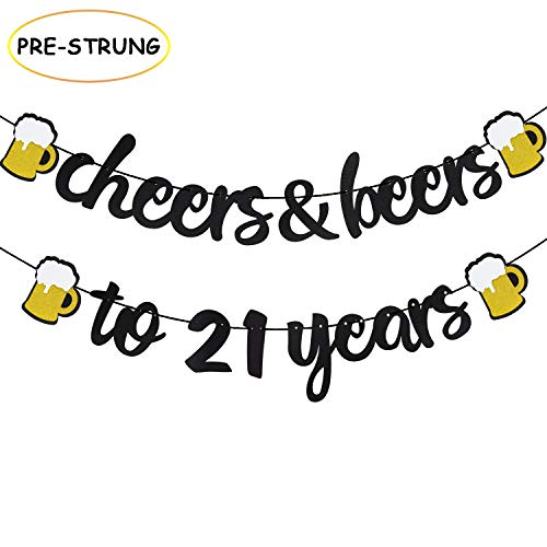 Cheers & Beers to 21 Years Black Glitter Banner for 21th Birthday Wedding Aniversary Party Supplies Decorations - PRESTRUNG
