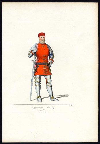 Fourteenth-century Italy Costumes (Antique Print-VETTOR PISANI-ITALY-COSTUME-14TH CENTURY-P 38-Bonnard-Mercuri-1860)