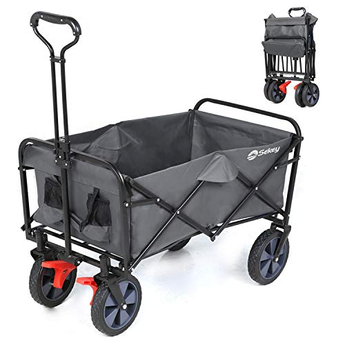 Sekey-Foldable-with-Brakes-Foldable-Hand-Cart-Folding-Garden-Trolley-Garden-Trolley-for-all-surfaces--Grey