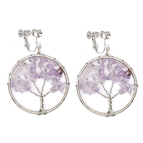 Dangle Clip on Earring Tree of Life Fashion Jewelry Green Crystal Gemstone Amethyst Wire Wrap for Women