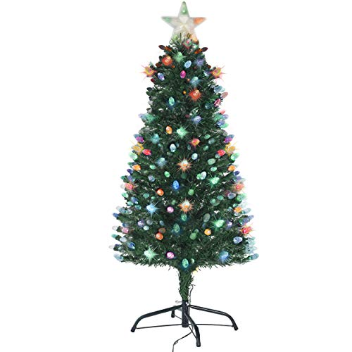 (Holiday Essence Pre Lit Christmas Tree 5 Ft, Artificial Xmas Tree with Prelit LED Multicolor Lights, Star Tree Topper, Changing Acorn Shaped LEDs, 150 Full Hinged Tips, Metal Stand, UL Listed)