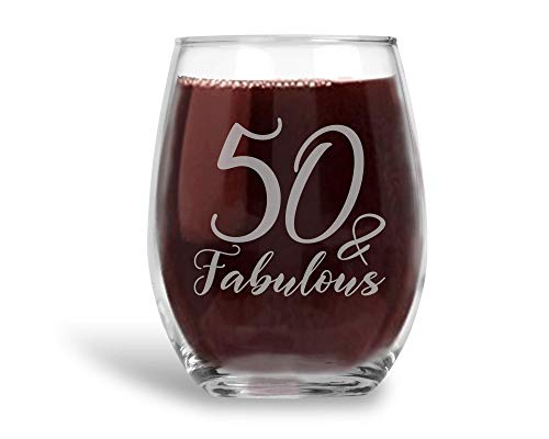 50 and Fabulous Laser Etched Stemless Wine Glass 50th Birthday Gift for Women - 21 -