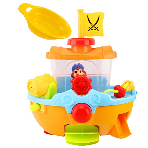 Bath Pirate Ship Boat Toy For Toddlers Kids With Water Cannon
