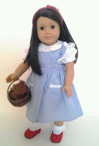 Halloween Dorothy Costume for American Girl Dolls Wicker Basket and Toto Included