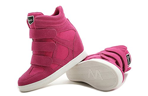 Boots Womens Casual Sneakers Top Platform Rosy wedge Lace Up Trainers Concealed High Ankle Three's Sqx6TwR7R
