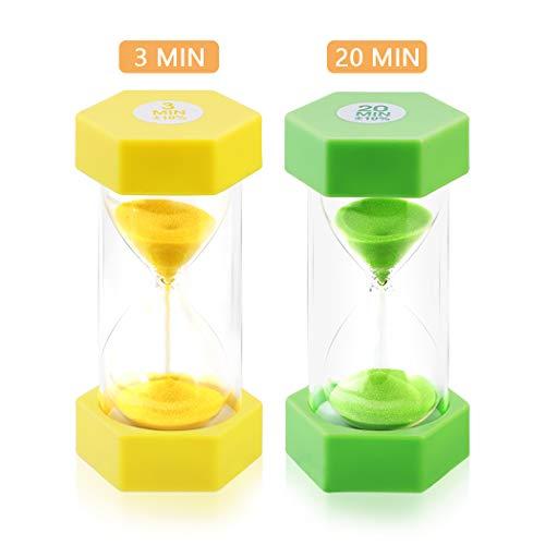 Sand Timer KeeQii 2Colors Sandglass Hourglass Sand Clock Timer 3Mins 20Mins Timer Set for Kids, Teachers, Kitchen, Games, Brushing Timer, Home Office Decoration (Pack of 2)