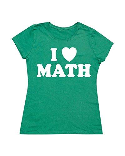 P&B I Heart Math Women's T-Shirt, M, Green