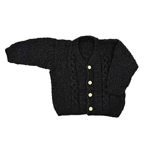 Magic Needles Handmade Knit Baby Infant Newborn Winter Woolen Full Sleeves Sweater Pullover Cardigan (Dark Grey 1225, 3-6 Mths)