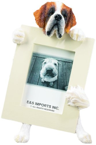 Saint Bernard Picture Frame Holds Your Favorite 2.5 by 3.5 Inch Photo, Hand Painted Realistic Looking Saint Bernard Stands 6 Inches Tall Holding Beautifully Crafted Frame, Unique and Special Saint Bernard Gifts for Saint Bernard Owners