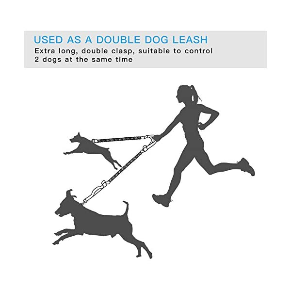 SHINE HAI Retractable Hands Free Dog Leash with Dual Bungees for Dogs up to 150lbs, Adjustable Waist Belt, Reflective Stitching Leash for Running Walking Hiking Jogging Biking 3