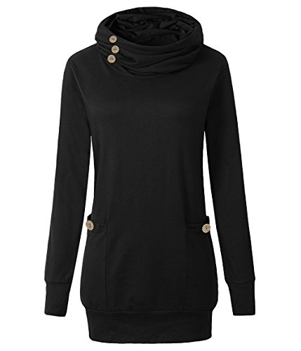 Yibye Tunic Top For Ladies,Womens Flattering Top Solid Color Long Sleeve Fall Tunics Cowl Neck Top Casual Blouse Shirts (Black,XL) (Neck Cowl Sweater Solid)