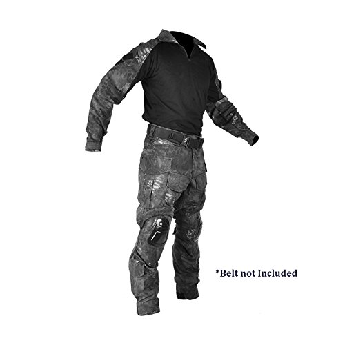 AmeriTac Tactical Military Combat BDU Uniform Shirt and Pants Set with Kneepads - TYP Camo - S