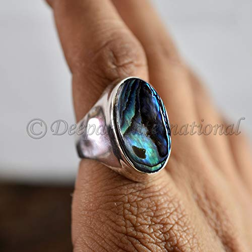 (Long Abalone Shell Ring, Big Gemstone sterling silver ring, Big Gemstone Gift Ring, Mans Multicolor Stone ring, High Polished Boys Ring)