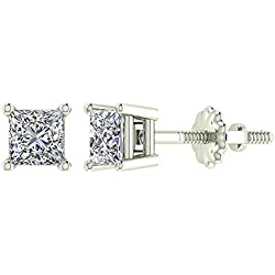 Princess Cut Diamond Stud Earrings Earth-mined 14K Gold (I,I1)