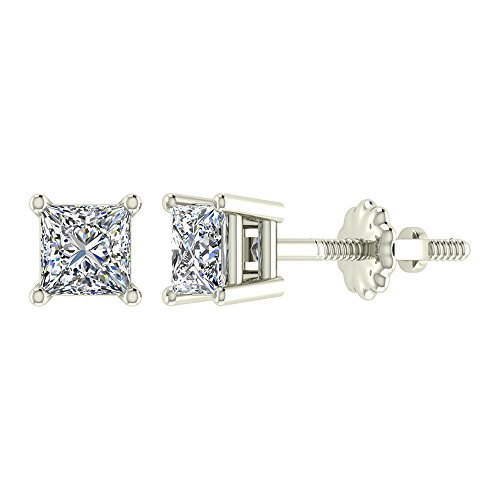 Princess Cut Diamond 4 Prong (1/4 ct tw I I1 Natural Princess Cut Diamond Stud Earrings 14K White Gold Screw Back)
