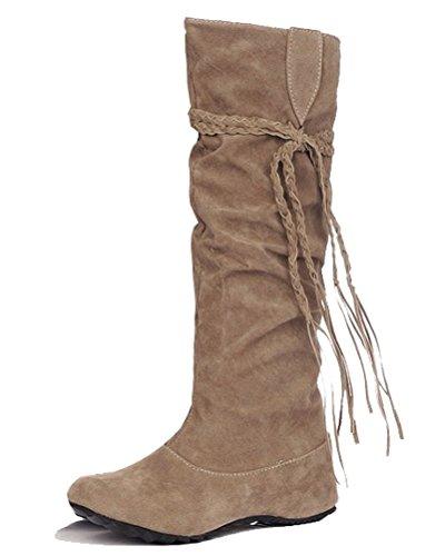 la invierno de de Tacones trenzas Slouch borlas cálidas de bajos 8 Tamaño Boots Amarillo de de dulces HiTime cuña mujeres las 2 mocasines Botas Las princesa Calf los Las 5 vTCwq6UUd