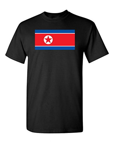 Korea Country Flag (North Korea Country Flag Adult DT T-Shirt Tee (Large, Black))