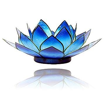 Lotus Teelicht Kerzenhalter aus Capiz Muscheln in blau