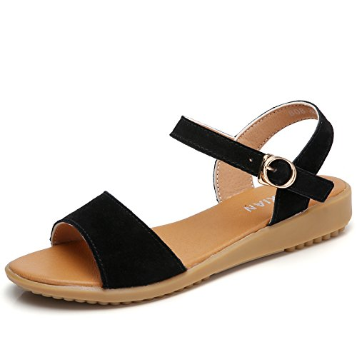 Hgtyu Black The Di Slotted Hgtyu E Summer Sandali Base Flat Roma Selvaggio Di Fasteners Fessurati And Nero Estate Sandals Il Elementi Wild Fissaggio Piatta Di Base Rome A4rpqA