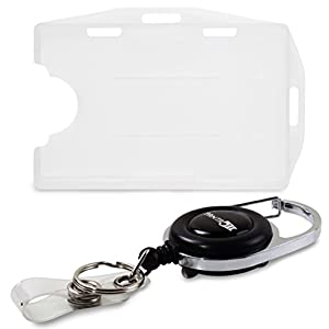 FANTA5TIC Retractable Badge Holder and Carabiner Reel -Rigid 2 sided open face Multi card Holds Two ID Cards (Transparent, white)