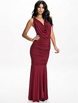 Nuevas señoras rojo vino abierto cadena diseño de vestido de fiesta vestido de cóctel fiesta Prom