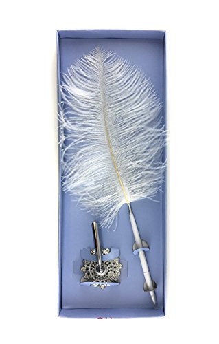 Feather Silver Pens (White Ostrich Feather pen with holder for wedding reception guest book with silver metal stand)