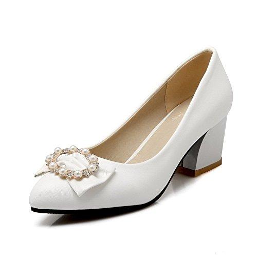 Balamasa Kvinna Bead Bead Mjuk Material Pumpar-shoes Vita