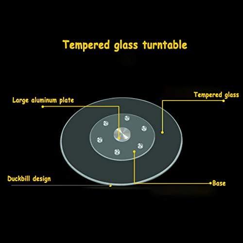 DIOE Platine tournante en verre trempé transparent de Lazy Susan, plateau de table rond de table de ménage, conception de roue auxiliaire, bord de bec de canard