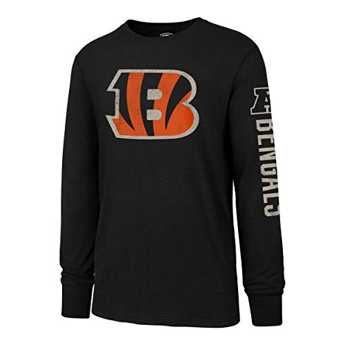 NFL Cincinnati Bengals Men's OTS Slub Long Sleeve Team Name Distressed Tee, Jet Black, Large