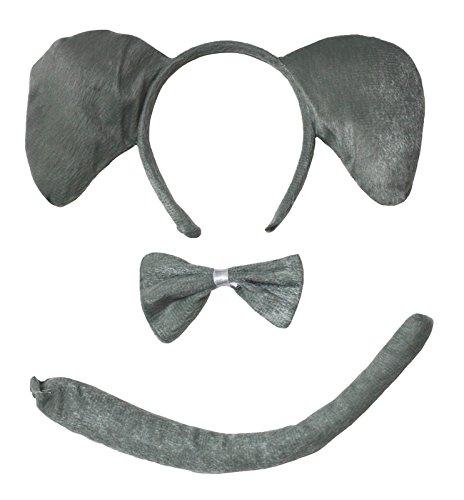 [Grey Elephant Headband Bowtie Tail 3pc Costume for Children Halloween or Party (Grey)] (Elephant Headband)
