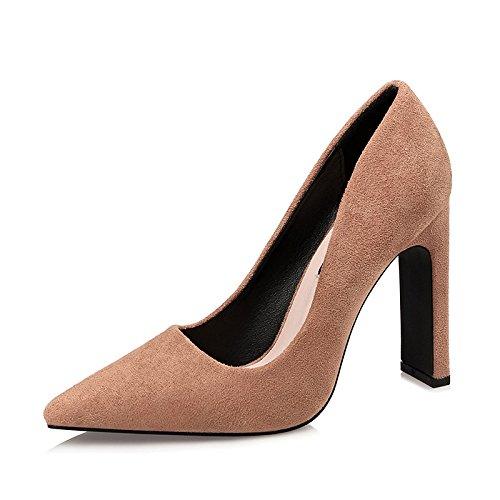 YMFIE spesso semplice stile europeo In Khaki scamosciata alto scarpe in poco e pelle di moda profonde tacco ztrqzxwp