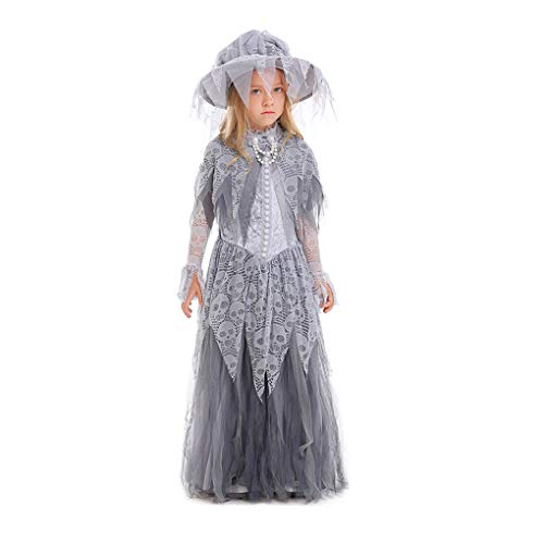 Yaxuan 2018 New Witch Costume Ghost Princess Bride Girls' Halloween/Carnival / Children's Day Festival/Holiday Halloween Costumes,Gray,M ()