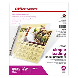Office Depot Simple-Load Sheet Protectors, 8 1/2in. x 11in., Clear, Pack Of 25, 535038 (Protector Side Sheet Load)